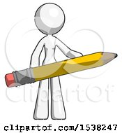 White Design Mascot Woman Office Worker Or Writer Holding A Giant Pencil