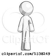 White Design Mascot Man Walking Front View
