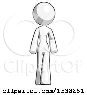 White Design Mascot Woman Walking Front View
