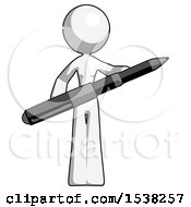 White Design Mascot Woman Posing Confidently With Giant Pen