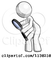 White Design Mascot Woman Inspecting With Large Magnifying Glass Left