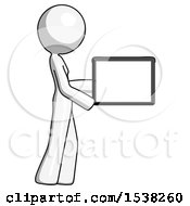 White Design Mascot Woman Show Tablet Device Computer To Viewer Blank Area