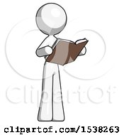 White Design Mascot Woman Reading Book While Standing Up Facing Away