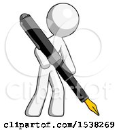 White Design Mascot Man Drawing Or Writing With Large Calligraphy Pen