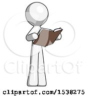 White Design Mascot Man Reading Book While Standing Up Facing Away