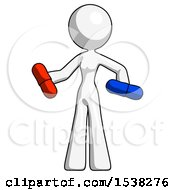 White Design Mascot Woman Red Pill Or Blue Pill Concept