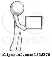 White Design Mascot Man Show Tablet Device Computer To Viewer Blank Area