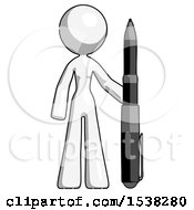 White Design Mascot Woman Holding Large Pen