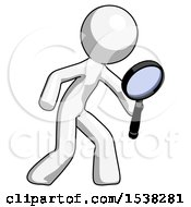 White Design Mascot Man Inspecting With Large Magnifying Glass Right