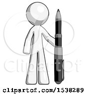 White Design Mascot Man Holding Large Pen