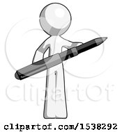 White Design Mascot Man Posing Confidently With Giant Pen