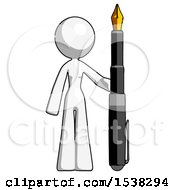 White Design Mascot Woman Holding Giant Calligraphy Pen
