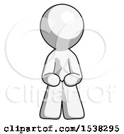 White Design Mascot Man Squatting Facing Front