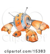 An Orange Spiky Robot Reaching Out To Grasp Something