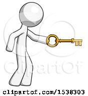 White Design Mascot Man With Big Key Of Gold Opening Something