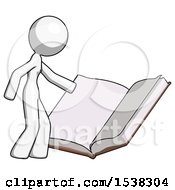 White Design Mascot Woman Reading Big Book While Standing Beside It