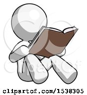 White Design Mascot Woman Reading Book While Sitting Down