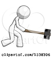 White Design Mascot Woman Hitting With Sledgehammer Or Smashing Something