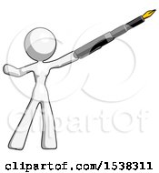 White Design Mascot Woman Pen Is Mightier Than The Sword Calligraphy Pose