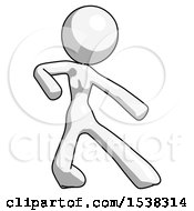 White Design Mascot Woman Karate Defense Pose Right