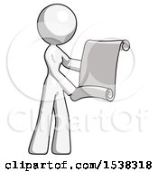 White Design Mascot Woman Holding Blueprints Or Scroll