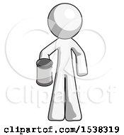 White Design Mascot Man Begger Holding Can Begging Or Asking For Charity