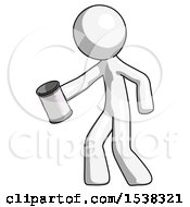 White Design Mascot Man Begger Holding Can Begging Or Asking For Charity Facing Left