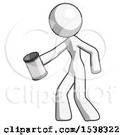 White Design Mascot Woman Begger Holding Can Begging Or Asking For Charity Facing Left