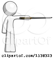 White Design Mascot Man Standing With Ninja Sword Katana Pointing Right