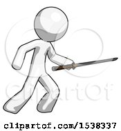 White Design Mascot Man Stabbing With Ninja Sword Katana