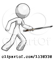 White Design Mascot Woman Stabbing With Ninja Sword Katana