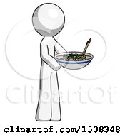 White Design Mascot Man Holding Noodles Offering To Viewer