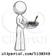 White Design Mascot Woman Holding Noodles Offering To Viewer
