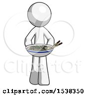 White Design Mascot Man Serving Or Presenting Noodles