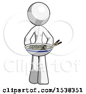 White Design Mascot Woman Serving Or Presenting Noodles