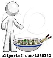 White Design Mascot Man And Noodle Bowl Giant Soup Restaraunt Concept