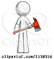 White Design Mascot Man Holding Red Fire Fighters Ax