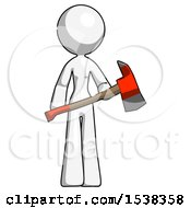 White Design Mascot Woman Holding Red Fire Fighters Ax
