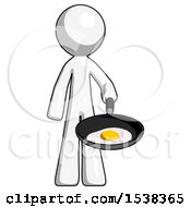 White Design Mascot Man Frying Egg In Pan Or Wok