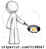 White Design Mascot Man Frying Egg In Pan Or Wok Facing Right