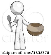 White Design Mascot Man With Empty Bowl And Spoon Ready To Make Something