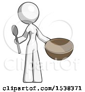 White Design Mascot Woman With Empty Bowl And Spoon Ready To Make Something