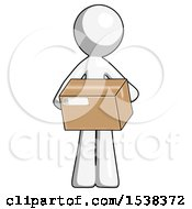 White Design Mascot Man Holding Box Sent Or Arriving In Mail