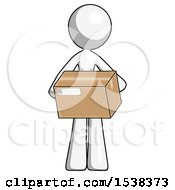 White Design Mascot Woman Holding Box Sent Or Arriving In Mail
