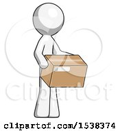 White Design Mascot Man Holding Package To Send Or Recieve In Mail