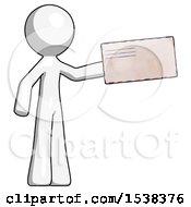 White Design Mascot Man Holding Large Envelope