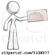 White Design Mascot Woman Holding Large Envelope