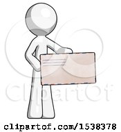 White Design Mascot Man Presenting Large Envelope