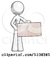 White Design Mascot Woman Presenting Large Envelope