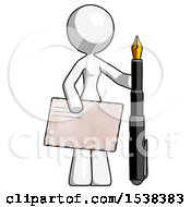 White Design Mascot Woman Holding Large Envelope And Calligraphy Pen